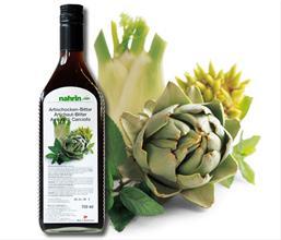 Botella Bíter de Alcachofa y fruto de alcachofa. Ver Dieta de la Alcachofa.